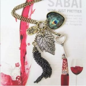 Bronze Alloy Necklace Tassle Key Heart Leaf Charms